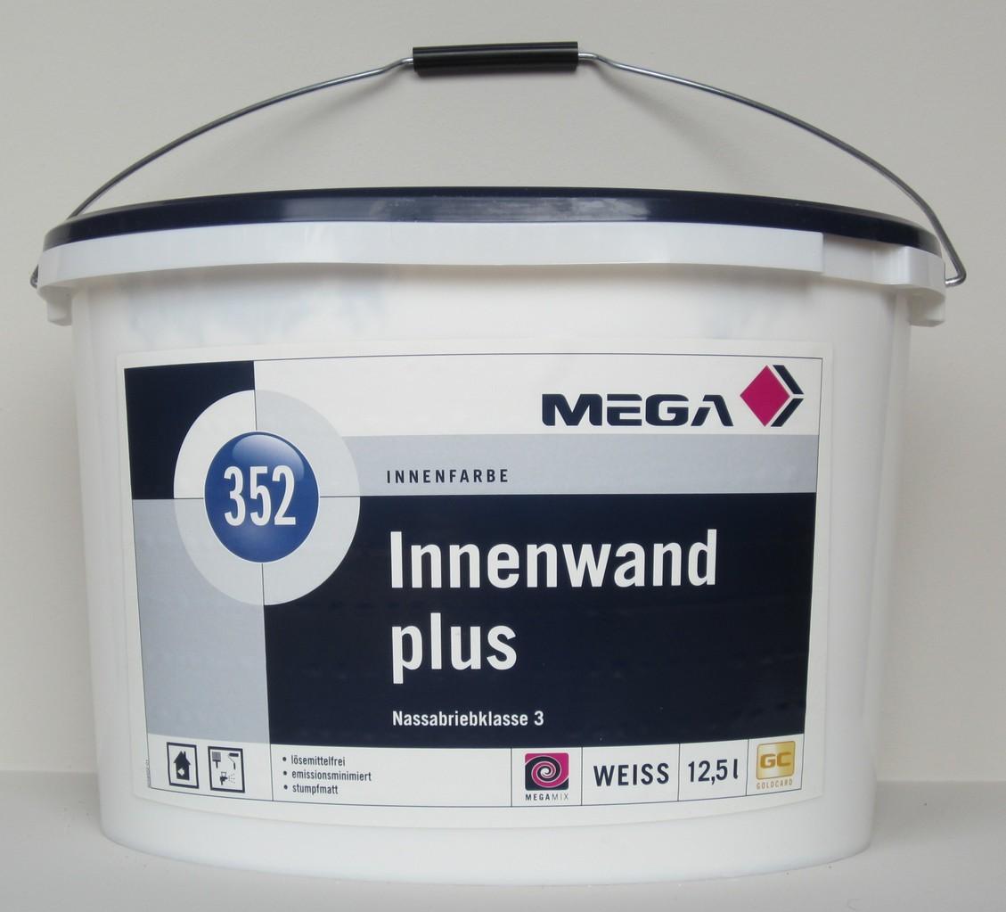 Mega Innenwand Plus 352 Weiß 12,5 Liter   Stumpfmatte Top Decken  Nassabriebklasse 3