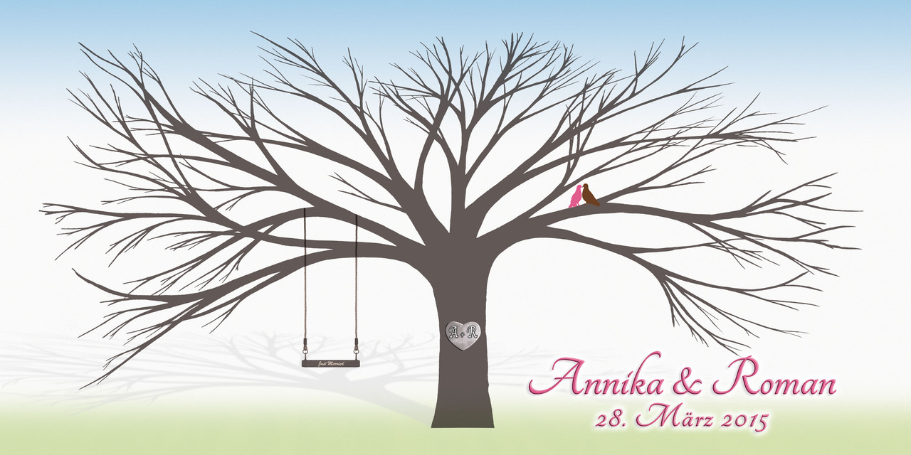 Der wedding tree hochzeit weddingtree geschenk leinwand gaestebuch hochzeitsbaum - Hochzeitsbaum leinwand ...