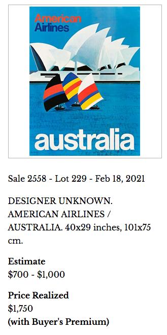 American Airlines - Australia - Original vintage airline poster