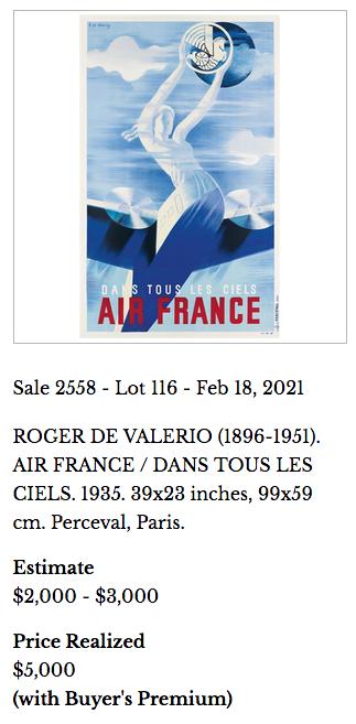 Air France - Dans tous les ciels - Original vintage airline poster by Roger de Valerio