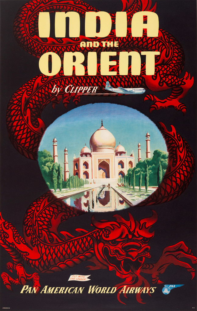 Vintage Poster Pan American World Airways  India  and the Orient by Clipper