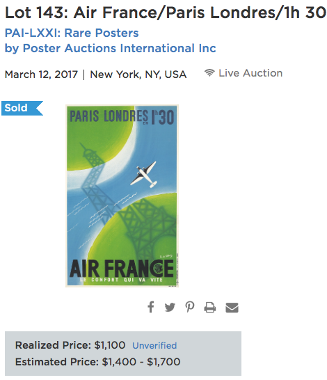 Air France - Paris-Londres - Original vintage airline poster