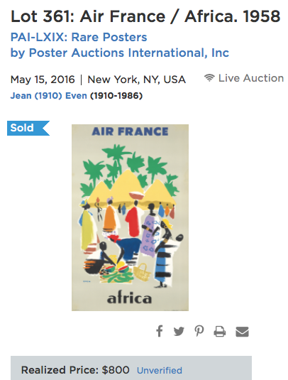 Air France - Africa - Even - Original Vintage Airline Poster