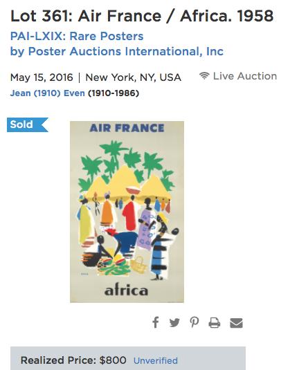 Air France - Africa - Even - Original Vintage Airline Poster