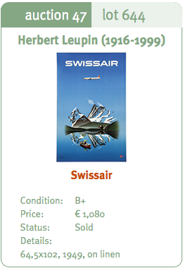 Swissair - Herbert Leupin (2nd Edition) - Original Vintage Airline Poster