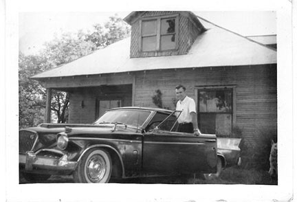 Roy with his Sudebaker, a prized possesion