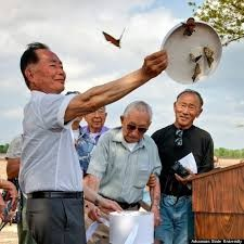 George Takei releases symolic butterflies at the Rohwer Camp site.  (Huffington Post)