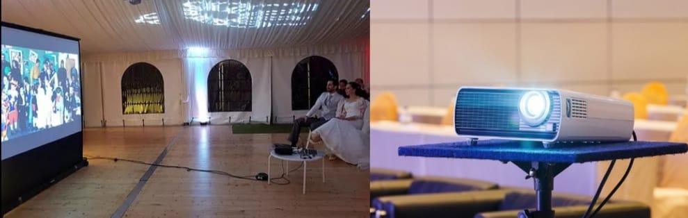 vidéoprojecteur et grand écran pour l'animation de mariage DJ Lyon Evénementiel