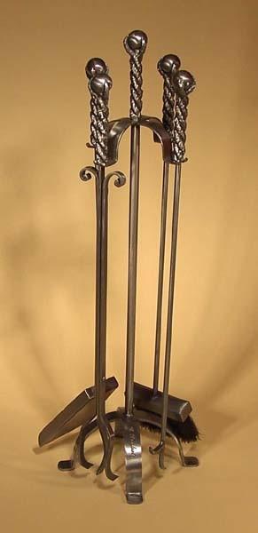 Jeu outils A-15 acier brossé métal 3/8 rond poignées cable avec boulle 1 1/4 pouce forgé