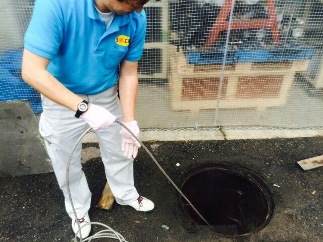 工場の排水管洗浄