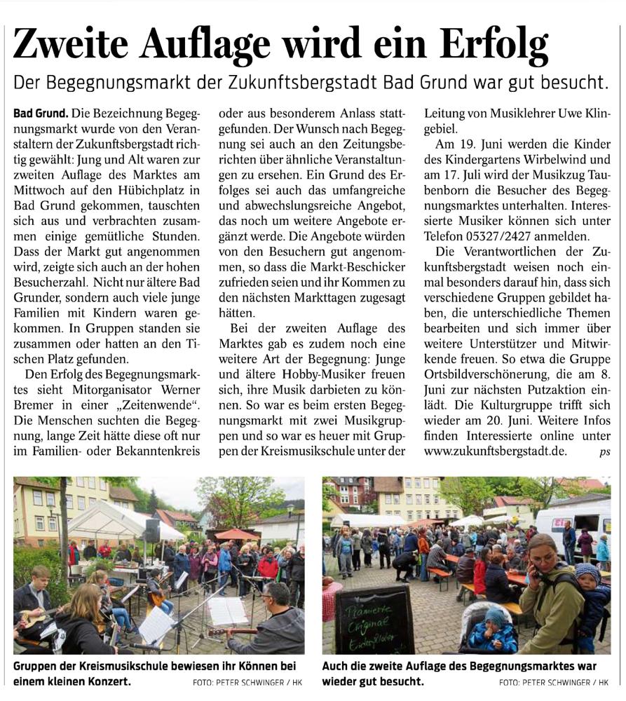 aus dem Harzkurier vom 18.05.19