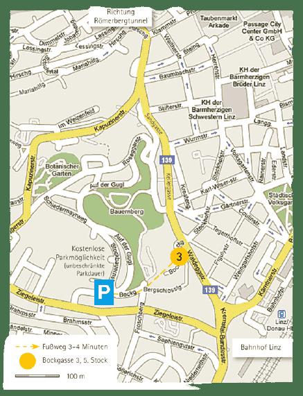 Anfahrtsplan Kostenlose Parkplätze Beratung Coaching Psychotherapie Karl Grabner Linzer Institut für Psychotherapie