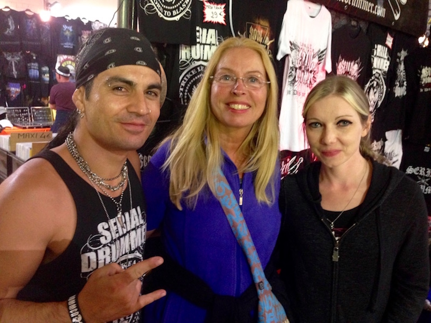 Reina with Franky Constaza (Blazing War Machine, Tambours du Bronx, ex-Dagoba) and his wife, Hellfest 2018