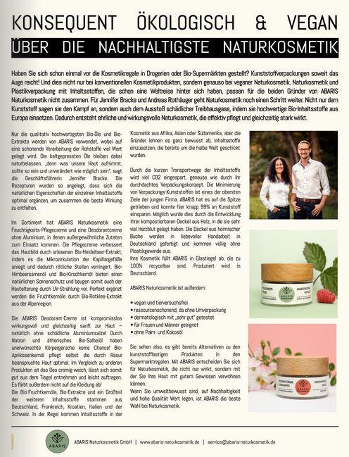ABARIS Naturkosmetik - konsequent ökologisch & vegan - im Welt Vegan Magazin