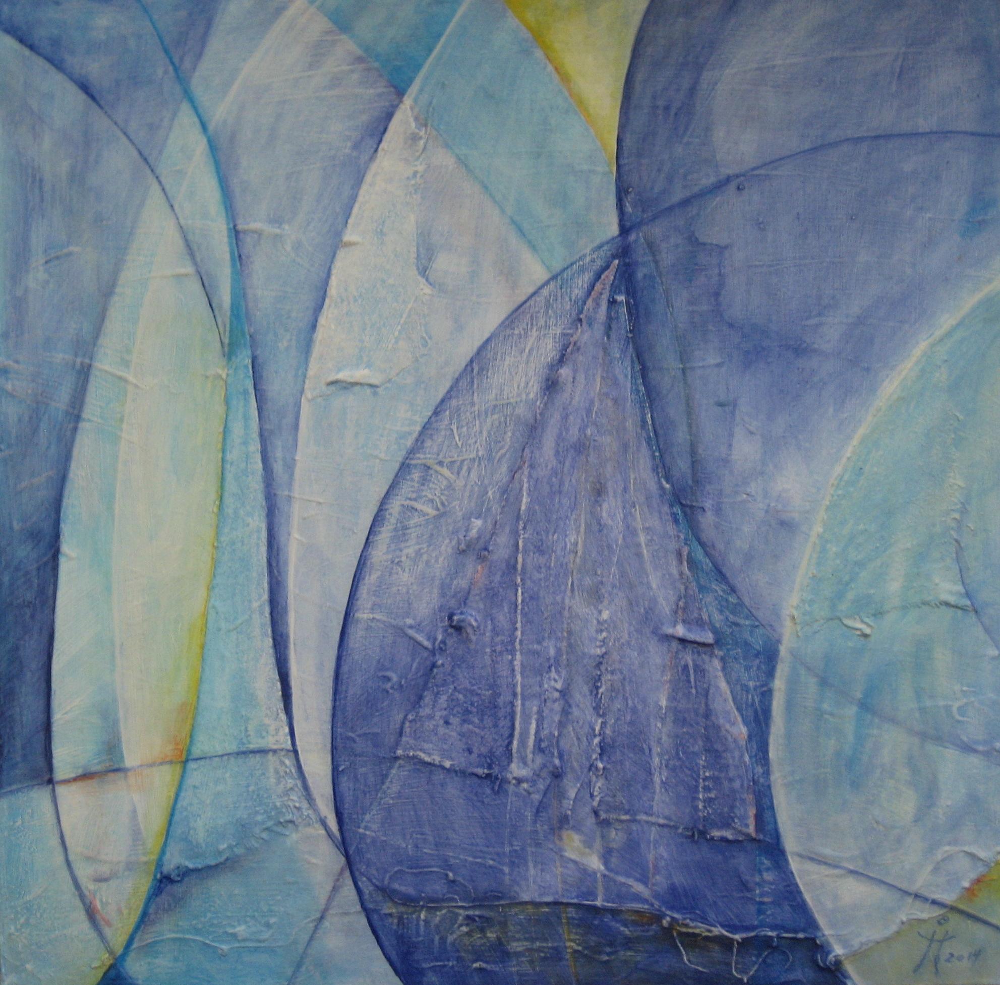 Blaue Segel und Großvater  -  H33  -  50x50cm  -  Acryl auf Hartfaser  -  02.2014