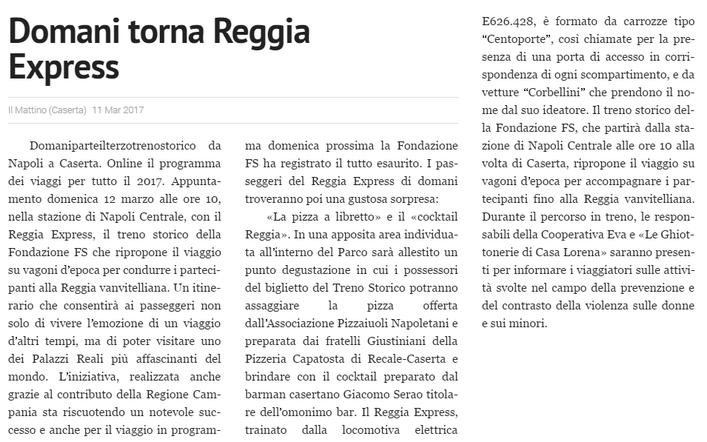 Domani torna Reggia Express, da Il Mattino (Caserta) del 11 marzo 2017