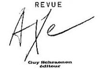 Guy Schraenen éditeur REVUE AXE Logo