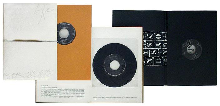 Guy Schraenen éditeur Revue AXE No. 1, 2, 3 with records by Henri Chopin, François Dufrêne, Sten Hanson and Brion Gysin.