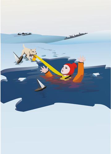 векторная иллюстрация плакат МЧС неиграйте на льду