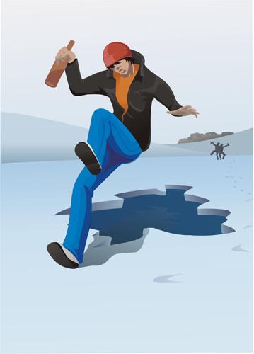 векторная иллюстрация плакат МЧС пьяный на льду, опасно