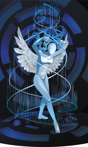 векторная иллюстрация девушка с крыльями