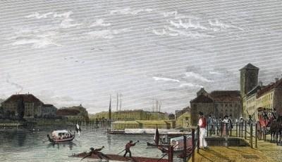 Kolorierter Stahlstich nach einer Vorlage von Eduard Gärtner, 1833