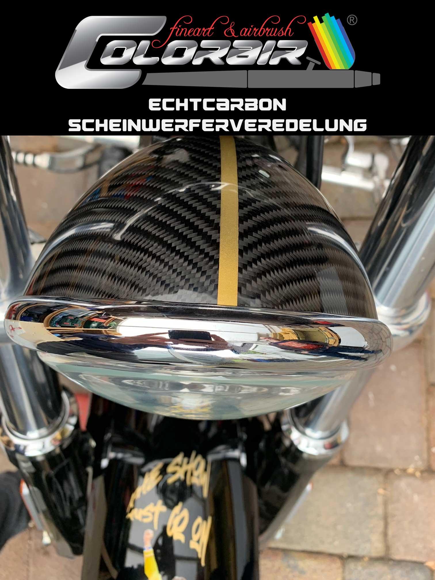 Frontscheinwerfer Lampe mit Echtcarbon und Golddesign
