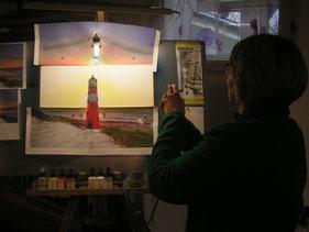 Airbrushkurs Nordseelandschaft Leuchtturm