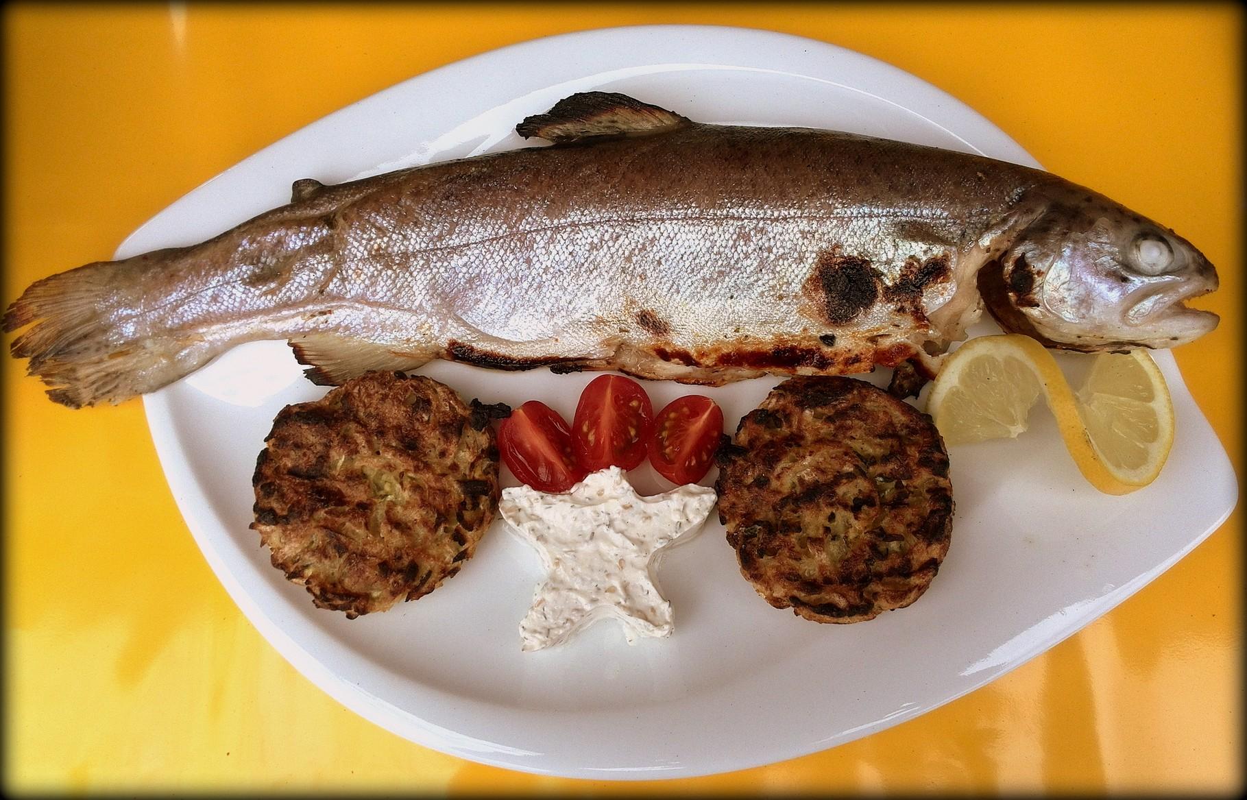 Hauptgang: Fruchtig marinierte Forelle mit Kartoffel-Zucchini-Rösti und Frischkäse-Sesam-Creme