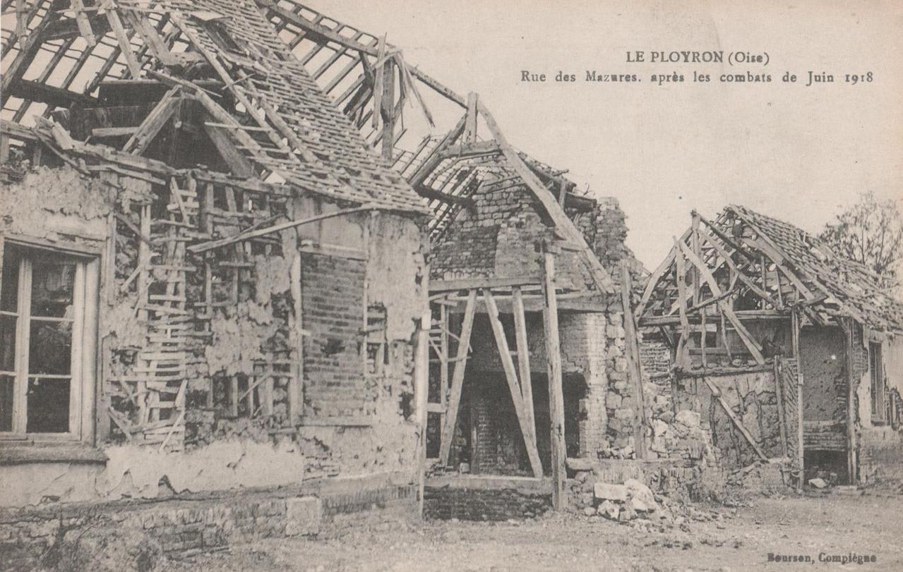 Rue des Mazures, après les combats de juin 1918 (collection particulière)