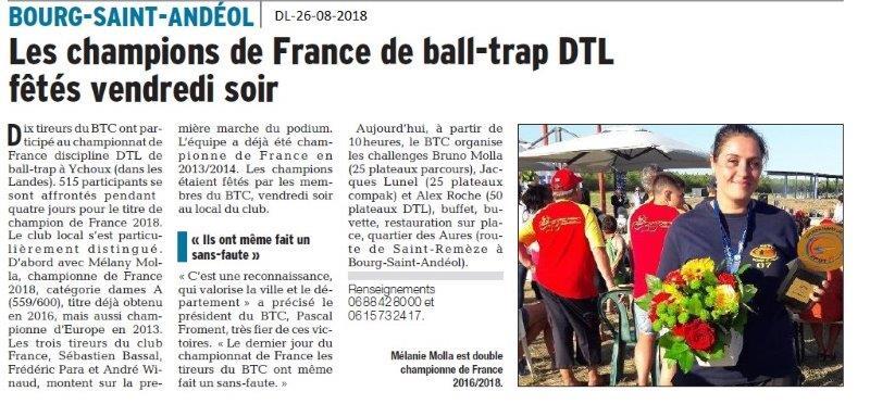 Dauphiné Libéré du 26-08-2018- Les champions de France de  ball-trap de BSA
