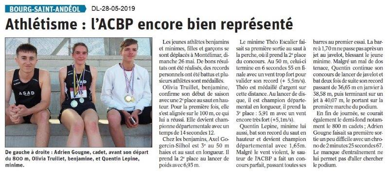 Le Dauphiné libéré du 28-05-2019- Athlétisme de BSA