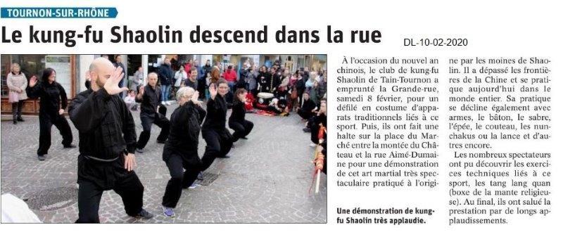 Le Dauphiné Libéré du 10-02-2020- Kung-fu Shalin à Tournon
