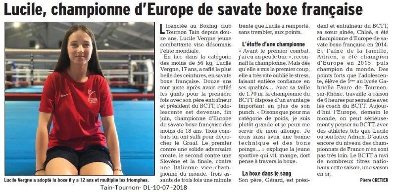 Dauphiné Libéré du 10-07-2018- Savate Boxe Française-Tain-Tournon