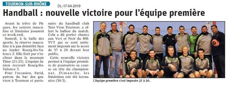 Le Dauphiné Libéré du 17-04-2019- Handball Tournon