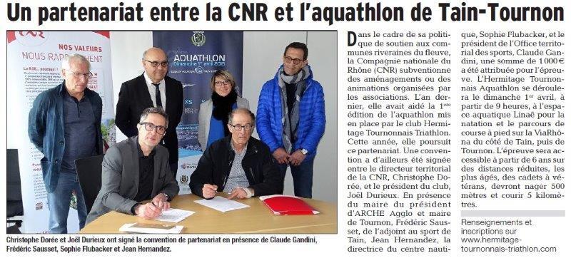 Dauphiné Libéré du 14-03-2018 Partenariat-Tain-Tournon