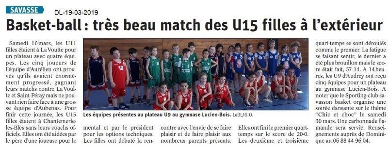 Dauphiné Libéré du 19-03-2019- Basket à SAVASSE