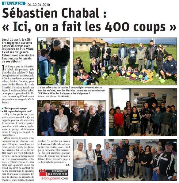 Le Dauphiné Libéré du 30-04-2019- Fête du rugby avec Chabal
