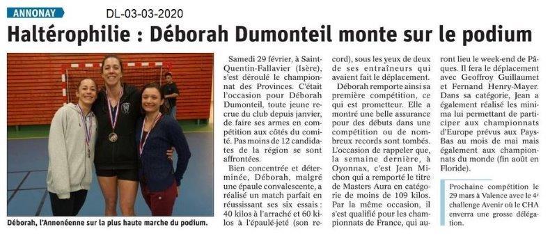 Dauphiné libéré du 03-03-2020- Haltérophilie Annonay
