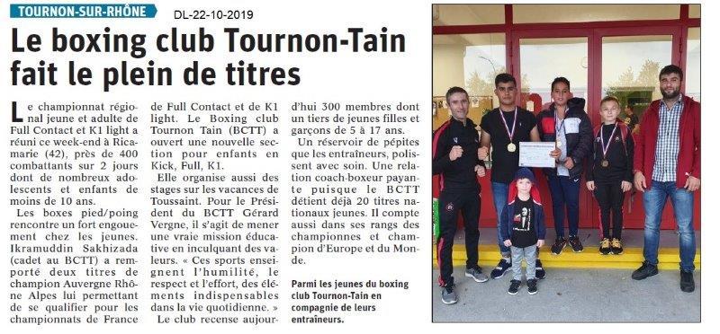 Dauphiné libéré du 22-10-2019- Boxing club de Tournon