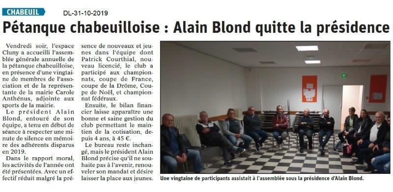 le Dauphiné Libéré du 31-10-2019- Pétaque Chabeuilloise