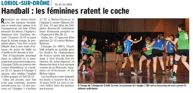 Dauphiné Libéré du 11-12-2018- Handball féminines de Loriol