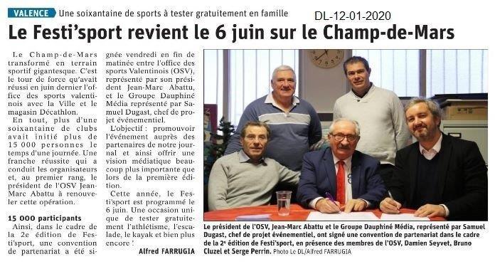 Dauphiné Libéré du 12-01-2020- Fest'sport à Valence