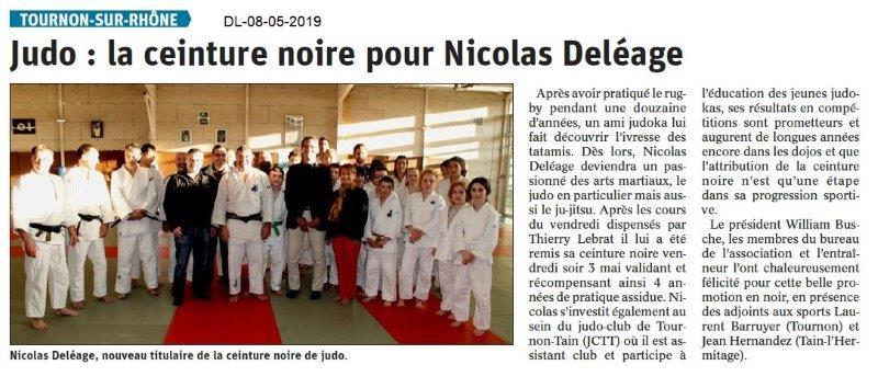 Le Dauphiné Libéré du 08-05-2019- Judo Tournon
