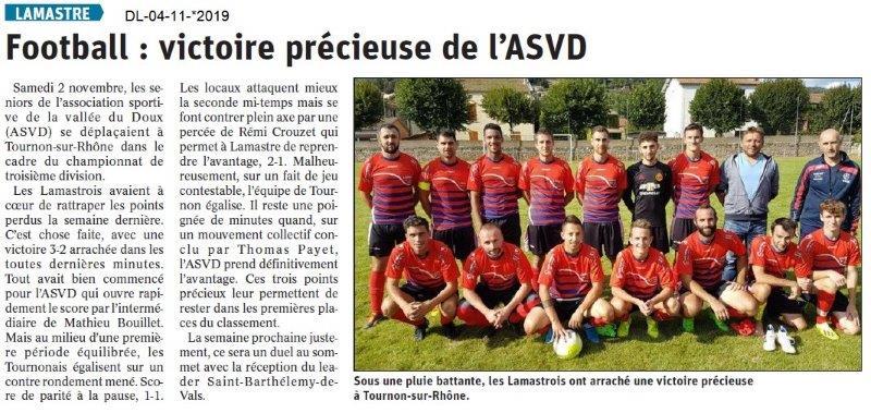 Le Dauphiné Libéré du 04-11-2019- Footballeurs de Lamastre