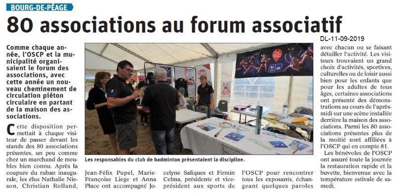 Dauphiné libéré du 11-09-2019- Forum des associations de Bourg de Péage