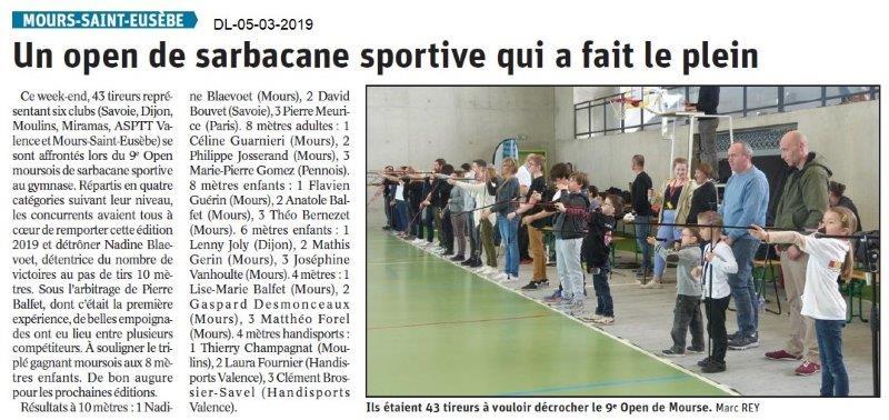Le Dauphiné Libéré du 05-03-2019-Open de la sarbacane