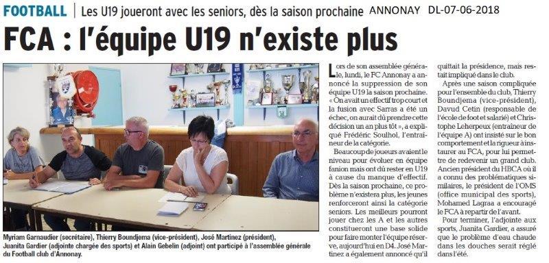 Dauphiné Libéré du 07-06-2018- Football Annonay