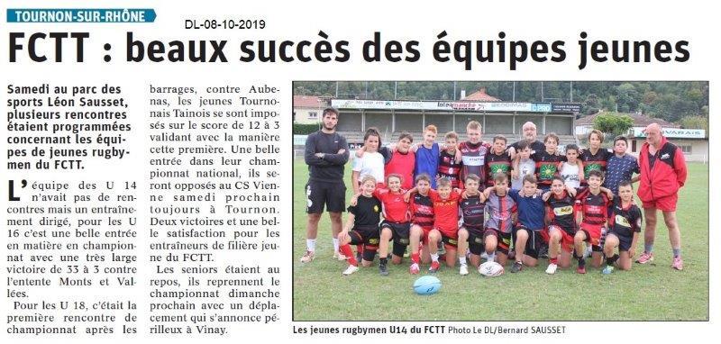 Dauphiné libéré du 08-10-2019- Rugby jeunes de Tournon