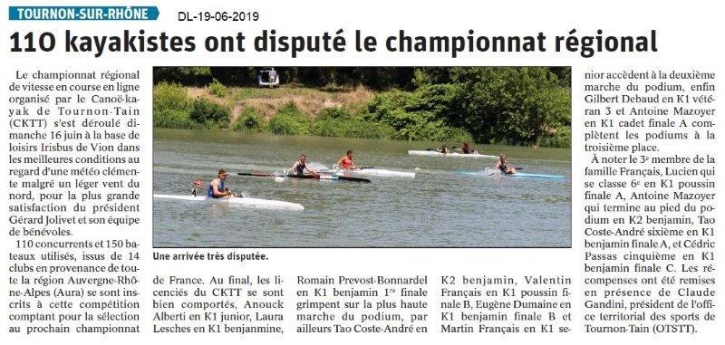 Dauphiné Libéré du 19-06-2019- Kayakistes de Tain-Tournon